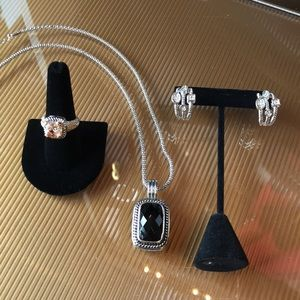 3 Piece Yurman Cable Style Earrings,Pendant &Ring